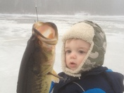 Ice Fishing Sawyer's first large mouth