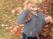 first time playing in the autumn leaves