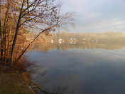Sunrise on Clough Pond through the fog