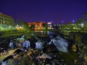 Reedy River Falls at night