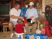 Papa & Uncle J putting together Maddie's gift