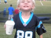 Grey smiles for the camera at the Carolina Panthers practice game