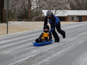This was the best for sledding on the road!!