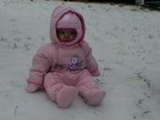 Addie's first snow.