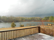 Lake Oolenoy Table Rock State park afternoon storm with hail