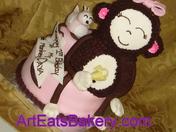 Monkey and little bird birthday cake