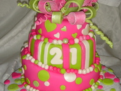 Neon pink and green birthday cake