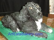 Black and white dog birthday cake