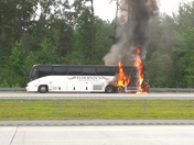 Bus fire on I 85 / Greensboro
