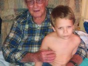 Grandpa Bell 88yrs old with Great grandson Donovin Bell -age 6 -thanksgiving