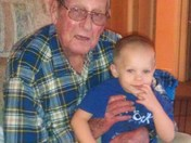 Grandpa Bell with great grandson Gunner Bell age 3 Thanksgiving day