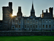 Cardiff castle at sunset