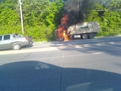 Artistic garbage truck fire