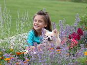 Becca and Lucky in the flowers