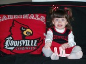 Emily cheering for the CARDS