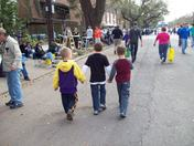 Friends on the parade route