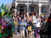 Bead catching at the parades on Sun Feb 22