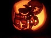 Sir Saint Pumpkin lighted