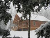 Truman Lake cabin in the Snow