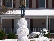 standing on the snowman