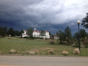 storm clouds above Stanley Hotel