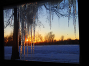 Sun behind icicles