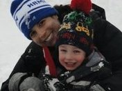 Mom and son having fun in the snow
