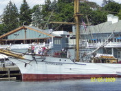 picton docked at pier in front of seaport restaraunt