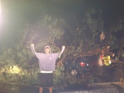 Van flattened by tree as a result of storm