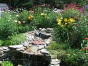 Perennial garden and waterfall
