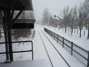 MBTA Train Departing Concord - Blizzard