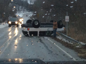 Closer picture of explorer rolled over on Oldhighway 68 in siloam springs