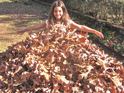 We made a dress out of leaves after Thanksgiving
