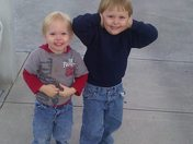 My boys under the clock tower at mommy and daddys school, CF