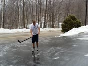 Skating in driveway after ice storm