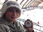 Santa hockey puck