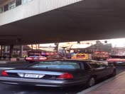 10 fire engines rolling out hoses at the T station