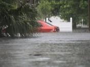 Car submerged, off Bellevue east of Nova