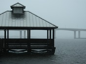 Halifax River pavilion in the rain