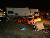 Construction trailer overturned at IDOT yard