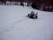 Sledding uphill is fun too!