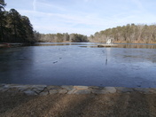 Lake mostly frozen over