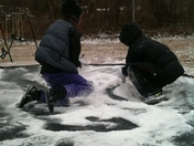 Tiernen and Taegen Trampoline snow