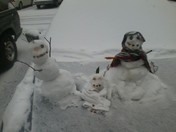 snow family on my car