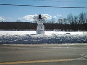 Non meltable Snowman made out of hay bales on rt.2 in new Sharon