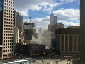Fire off Market Square in downtown Pittsburgh