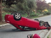 Car upside down in Aptos/Seascape