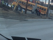 School bus accident gibsonia this morning. Bus ran over car