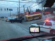 Bus on top of 2 cars