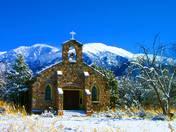 Natural rock church in snow